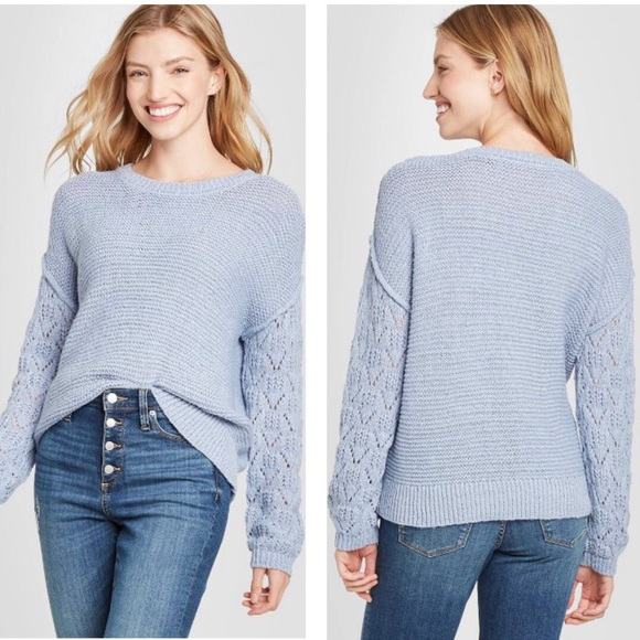 NWT Knox Rose Blue Pointelle Sleeve Detail Sweater
